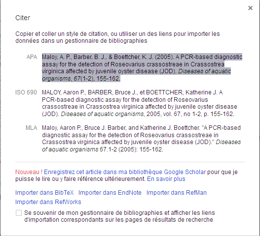 Types de citation dans google Scholar