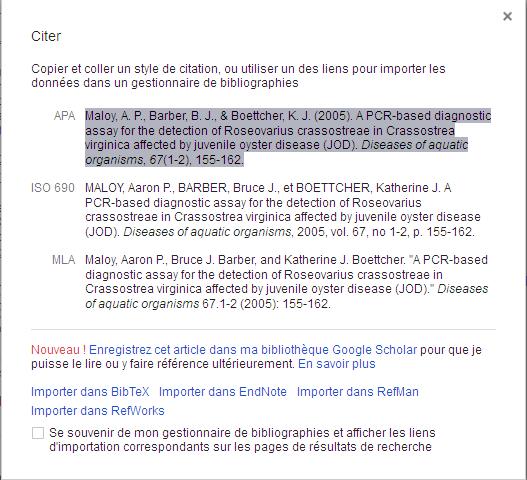 Types de citation dans google Scholar
