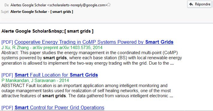 Google Scholar : exemple d'email reçu