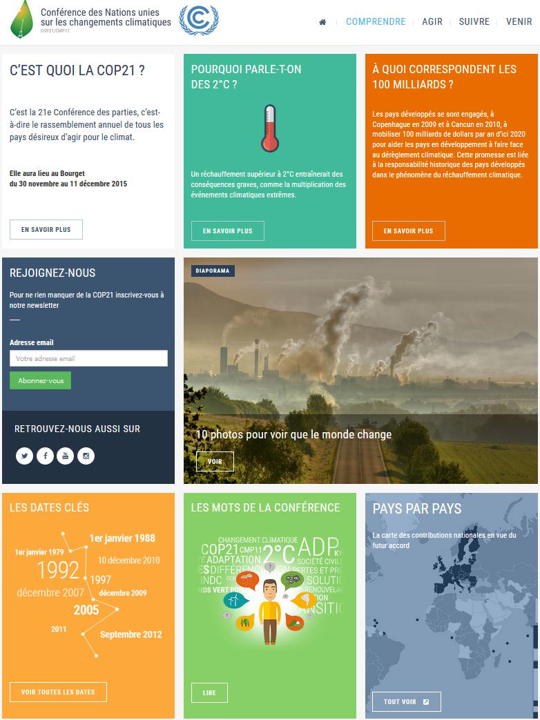 """Site web officiel de la COP21, rubrique """"Comprendre"""" (cliquez pour y aller)"""