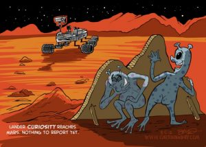 Mars lander cartoon - Curiosity lands on Mars - by Bryant Arnold, publié le 06/08/2012, www.cartoonaday.com