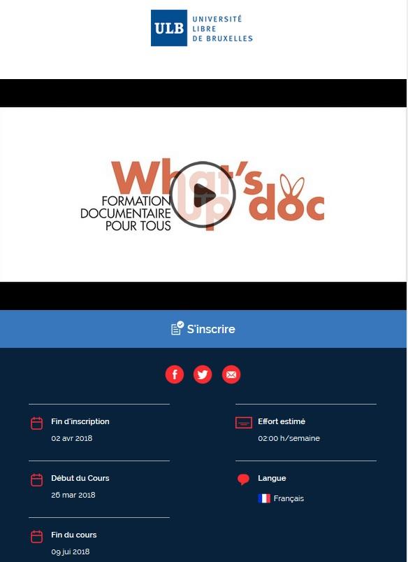 Capture d'écran de la page What's up Doc sur le site www.fun-mooc.fr