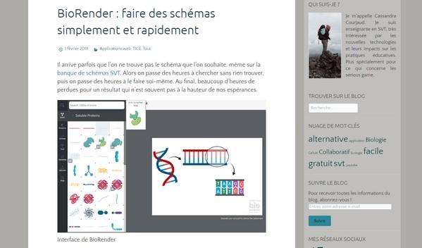 Copie d'écran de l'article consacré à BioRender sur le blog TICE SVT