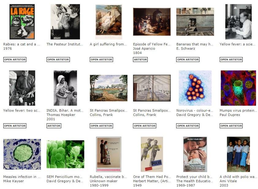 """Capture d'écran de la sélection """"Viruses"""" d'artstor, avec des exemples de vignettes d'images"""