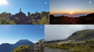 A. On the way up to Grand Bénare; B. Sunset on the sea of clouds, Maïdo, C. Piton des Neiges, view from Maïdo, D. Observatory for the physics of the Atmosphere, OPAR