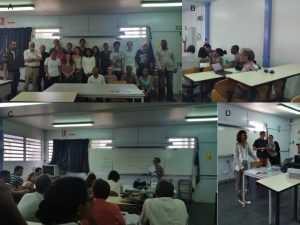A. Group picture; B. Practical; C. Sabrina K. lecturing; D: Isabelle Fock-Bastide welcoming words for this summer school